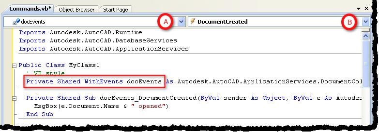 Handling events in VB NET - AutoCAD DevBlog