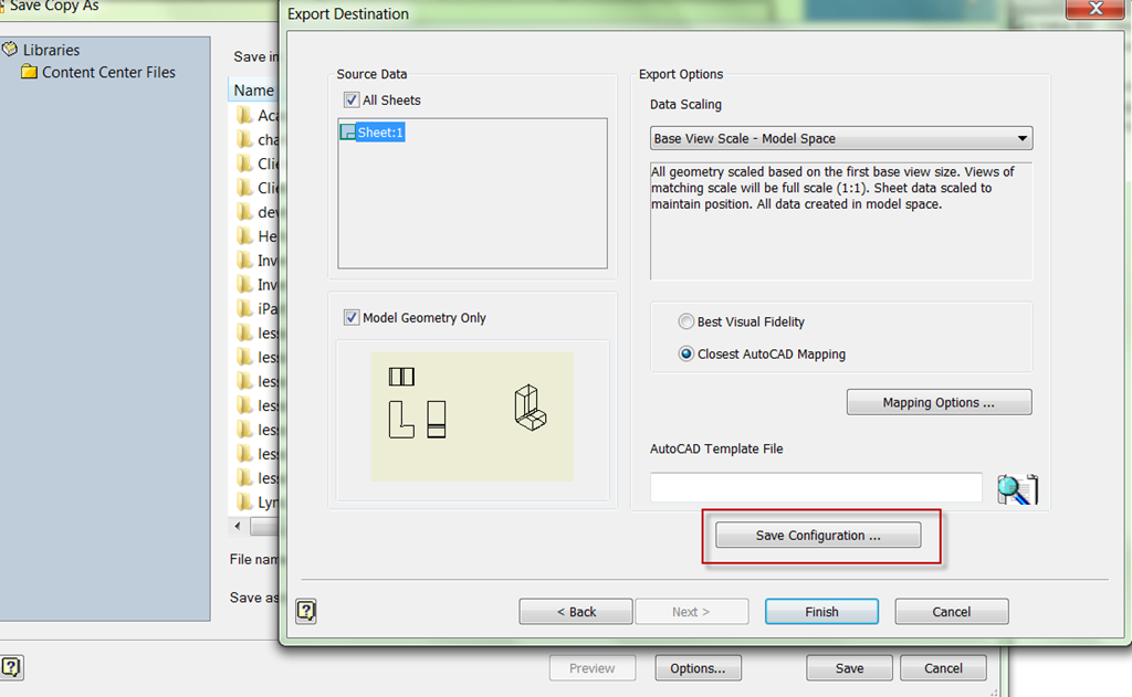 Save a drawing to dwg / dxf format using additional options in an