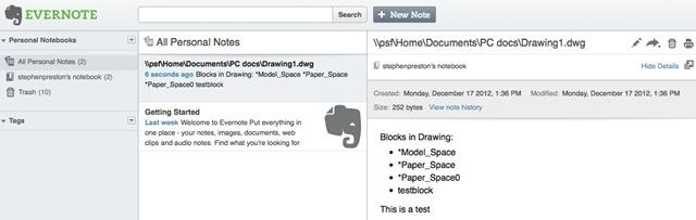 Integrating AutoCAD with Evernote Part 1 - AutoCAD DevBlog