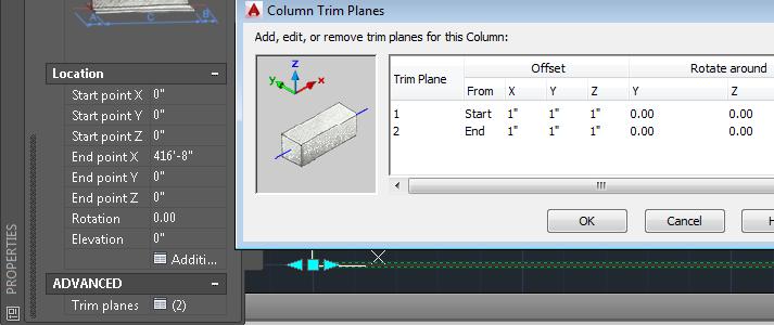 Column trim planes