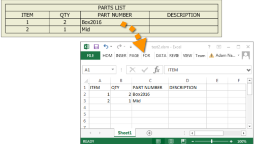 Use Excel API to export PartsList content - Manufacturing