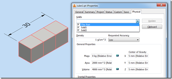 Inventor API: Volume and surface area of the multibody part with